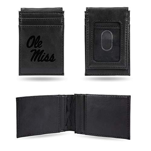 Rico Industries NCAA Mississippi Ole Miss Rebels Laser Engraved Front Pocket Wallet, Black