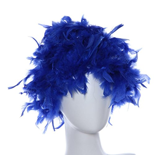 Lucoo Fashion Sexy Women Long Straight Cosplay Paty Wig Masquerade Small Roll Bang Short Straight Hair Wig  Blue