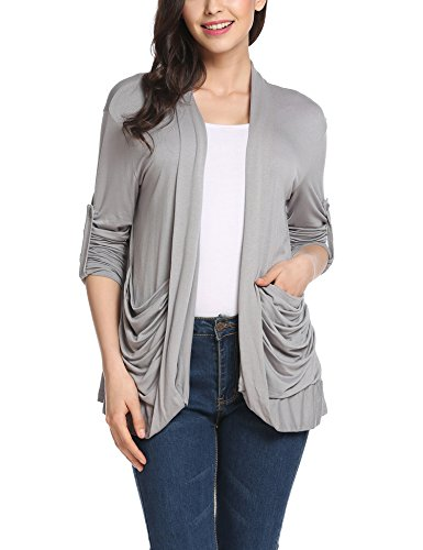 SoTeer Women's Plus Size Long Sleeve Semi Sheer Draped Front Flyaway Cardigan Gray L by SoTeer