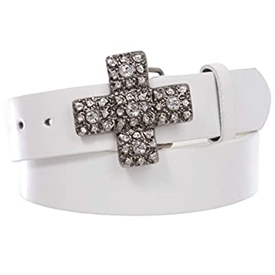 """1 1/2"""" Snap On Cross Rhinestone Western Engraving Buckle With Leather Belt"""