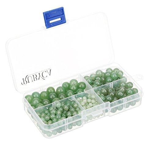 (RUBYCA Natural Green Aventurine Gemstone Round Loose Beads Organizer Box Jewelry Making Mix Sizes)