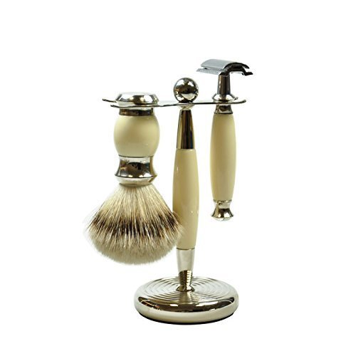 Golddachs Germany Shaving Set, Double Edge Razor, Silvertip Badger Brush, Chrome Finish Stand, Ivory, Made In Germany, 3 Piece