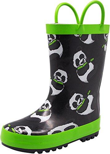 NORTY - Toddler Girls Panda Bears Print Waterproof Rainboot, Black, Lime 40142-7MUSToddler