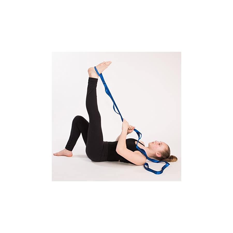 Stretching Strap + Stretching Booklet – Strong Resistance Bands for Exercise, Stretching, Pilates, Crossfit, Yoga & More! Increases Flexibility, Speeds Up Recovery & Reduces Injuries