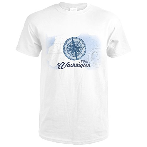 Forks Washington (Forks, Washington - Compass - Blue - Coastal Icon (Premium White T-Shirt X-Large))