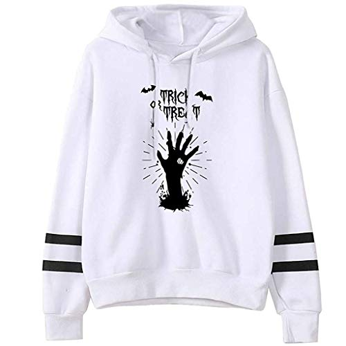 MEEYA Halloween Theme Print Women's Hoodies - 2019 Fashion Long Sleeve Drawstring Casual Sweatshirt Tops White