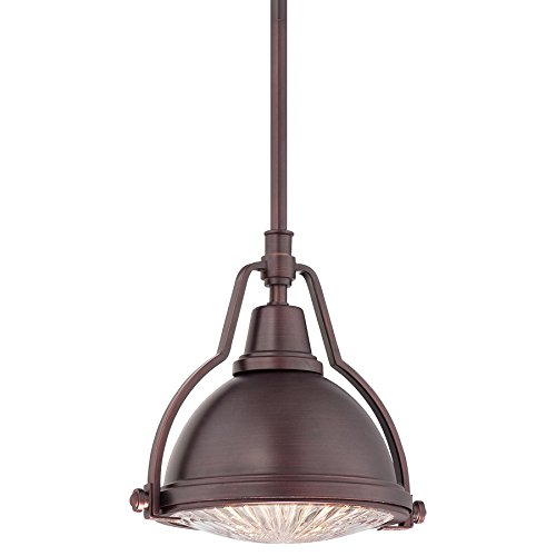 Minka Lavery 2252-576 1 Light Pendant in Brushed Bronze Finish w/ Metal Shade and Ribbed Clear Glass Diffuser