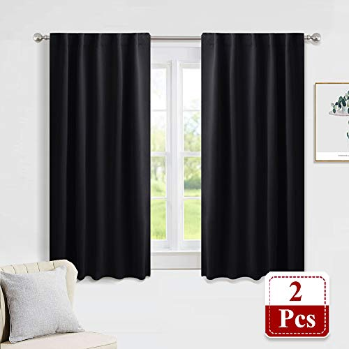 PONY DANCE Blackout Curtains Set - Nursery Short Curtain Panels Thermal Insulated Window Treatments Back Tab/Rod Pocket Light Blocking for Bedroom, 42 Wide by 45 inch Long, Black, Two Panels