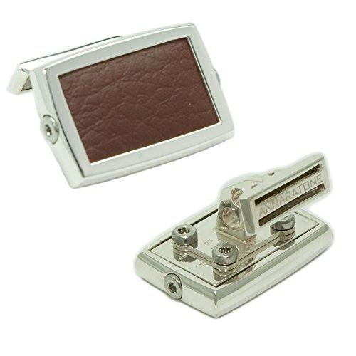Annaratone Jewelry , Sterling silver 925 cufflinks , Historic Racing Mahogany brown , gloss finish , Made In - Material Inox