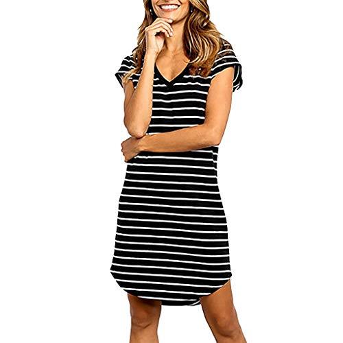 Women Fashion O-Neck Slim Fit Summer New Ladies Fashion Striped Print Dress