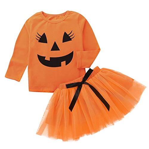 Baby Halloween Outfits,Leegor Toddler Girls Pumpkin Cartoon Print Long Sleeve Tops+Bow Skirt Outfit Set