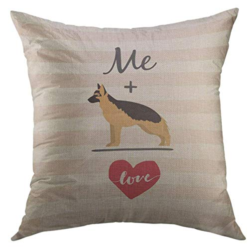 (Mugod Decorative Throw Pillow Cover for Couch Sofa,Me plus German Shepherd equal Love Home Decor Pillow Case 18x18 Inch)