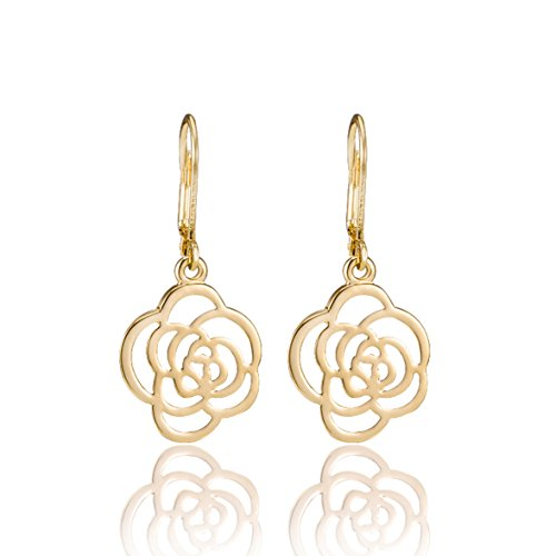 Mom Yellow Earrings (Women Silver/Gold Rose Flower Dangle Leverback Drop Earrings Mother's Day Mom Gifts)