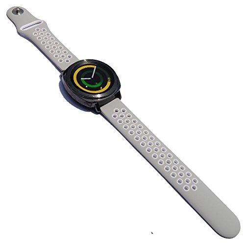 20mm Sport Silicone Strap for S2 Classic R732/R735 Samsung Gear Sport Smartwatch Vivomove HR Ticwatch E Vivoactive 3 Rubber Band (Grey-White)