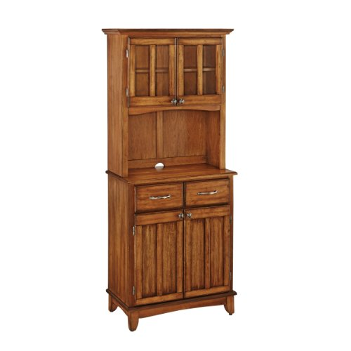 Home Styles 5001-0066-62 5001 Series Cottage Oak Wood Top Buffet Server and Hutch, Cottage Oak, 29-1/4-Inch (Kitchen Hutch And Buffet)