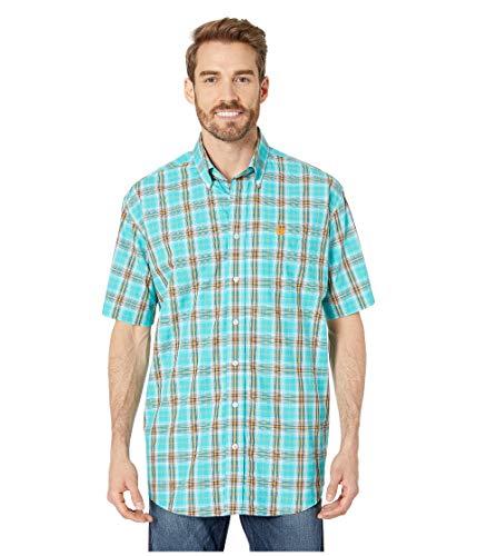 - Cinch Men's Classic Fit Short Sleeve Button One Open Pocket Plaid Shirt, Cesar Turquoise, L