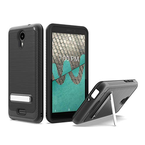 UNC Pro 2 in 1 Cell Phone Case with Kickstand for Wiko Ride U300, Brushed Metal Style Hybrid Shockproof Bumper Anti-Scratch Case, Black (Boost Mobile Cases)