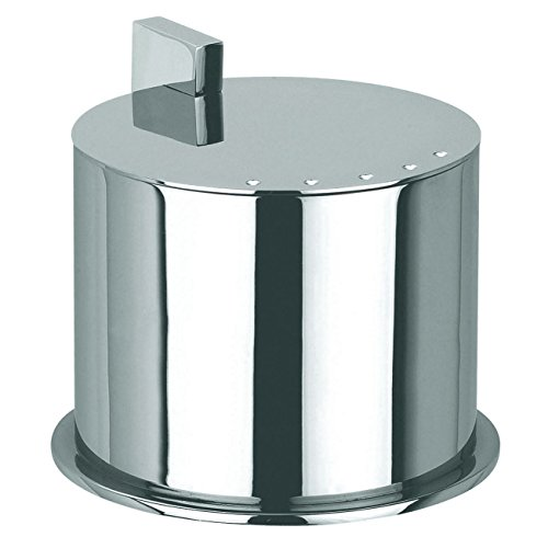 Ginger Kubic Solid Brass Vanity Jar No. 1, Medium Size, Polished Chrome by Ginger