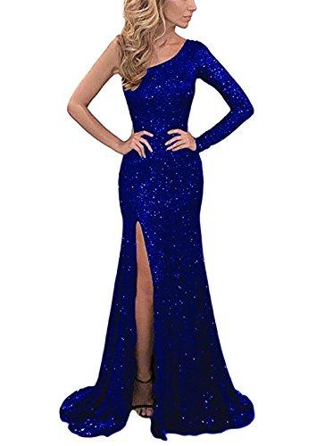 YSMei Women's One Shoulder Sequins Evening Celebrity Dresses Formal Prom Gowns Deep Royal Blue 8
