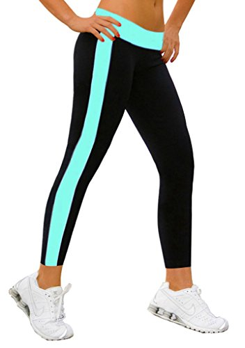 leggings mädchen Joggings hose Legging lange damen YOGA Gym Himmelblau&Schwarz,S