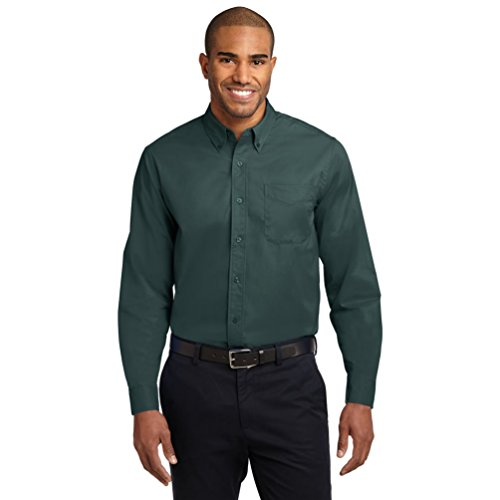 (Port Authority Men's Tall Long Sleeve Easy Care Shirt 4XLT Dark Green/Navy)