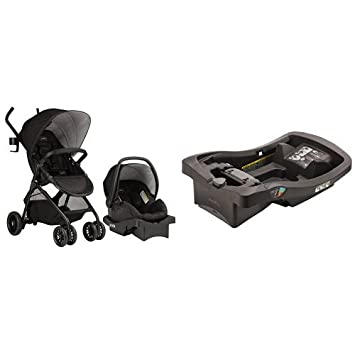 Evenflo Sibby Travel System Charcoal With Litemax Infant Car Seat Base Black