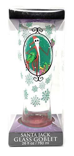 NIGHTMARE BEFORE CHRISTMAS SANTA JACK GLASS GOBLET 26 OZ