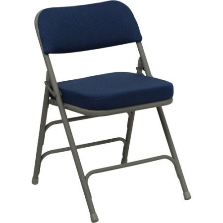 A Double Hinged Fabric Padded Folding Chair - 4-Pack, Comfortable Set of Four Chairs, Made of Steel, Navy Blue Finish, Tripple Braced Frame, Home Furniture, BONUS E-book by Best Care LLC