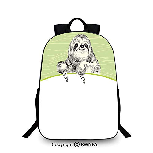 Lightweight Backpack-School Bag for Kid Girls Boys Colorful,Hand Drawn Sluggish Animal Sloth on Green Abstract Background Curved Line Decorative Plain Bookbag Travel Daypack Pistachio Green Black