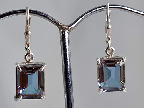 - 100% Color Change Lab Created Alexandrite 925 Solid Sterling Silver Earrings