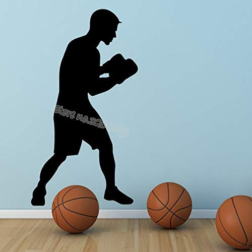 Lorraine Sweet Boxing Boxer Sports Wall Sticker Boxer Silhouette Art Decals Vinyl Removable for Living Room Boxing Hall Studio Art Mural 31 56CM