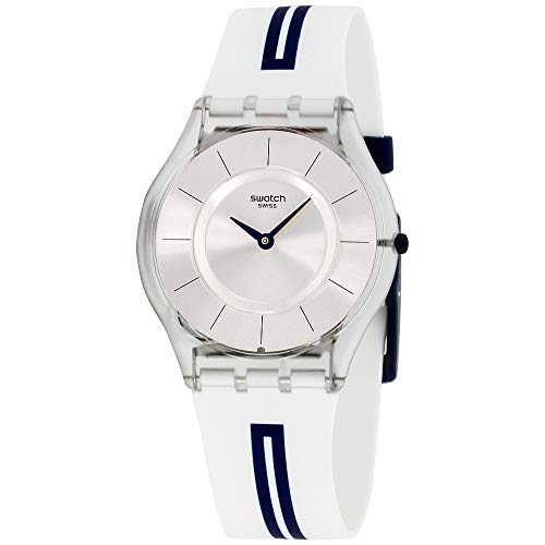 Swatch Skin Mediolino Silver Dial Silicone Strap Unisex Watch ()