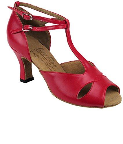 Salón Muy Fino Latin Tango Salsa Dance Zapatos Para Mujer S2803 2.5 Pulgadas Heel + Cepillo Plegable Bundle Red Leather