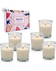 Bulk Votive Candles in Glass, Small Unscented White Soy Candles for Party, Wedding, Dinner, 12 Packs