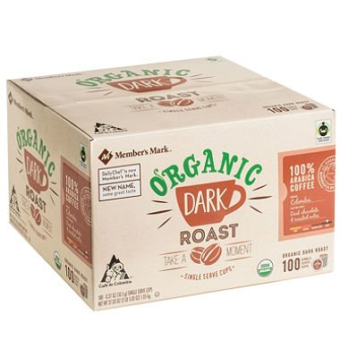 Member's Mark Organic Dark Roast Coffee (100 single-serve cups) x2 by American Standart