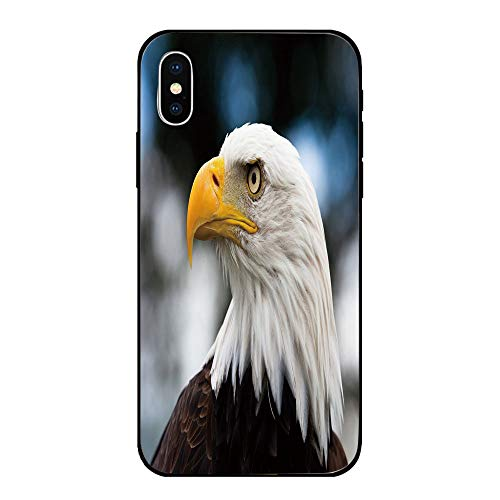 Phone Case Compatible with iPhone X Brandnew Tempered Glass Backplane,Eagle,Photo of the Head of Freedom Symbol in America with Blurred Background Decorative,Dark Brown Marigold Blue,Anti-shock and sh ()
