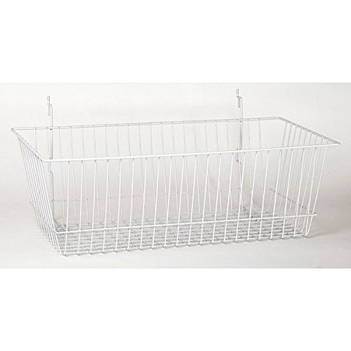 Pack of 8 New Retails White Slatwall Wire Basket 24''w x 12''d x 8''h