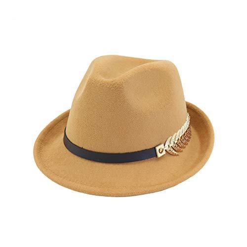 Fange Mens/Women FashionTrilby Hat Panama Style Short Brim Fedora Camel