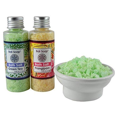 (Green Tea & Frangipani Bath Salt Gift Set, Ideal for Sore Muscles, Detox, Relax & Stress Reliever, Small 2pc 3.8 Oz each, by Bali Soap)