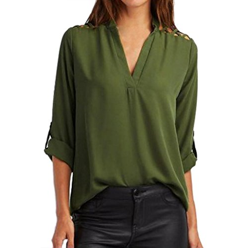 Women Chiffon Solid Tops,FUNIC Hollow Out