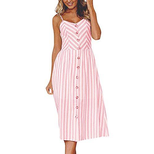 (Fudule Women Dresses Casual Sexy Stripe Buttons Summer Beach Holiday Sundress Off Shoulder Sleeveless Swing Dress)