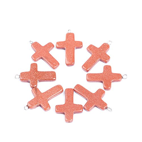 5Pcs/lot Natural Stone Cross Goldstone Gold Sand Stone Pendant Charm Pendant For Jewelry Making
