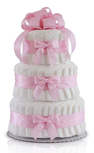 Classic Pastel Baby Shower Diaper Cake (3 Tier, Pink) from Rubber Ducky