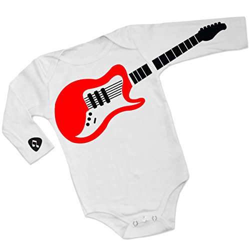 Clever and Funny Guitar and Pick Long Sleeves Romper Baby Bodysuit Super Cute Coming Home Outfit (0-3 Months) White