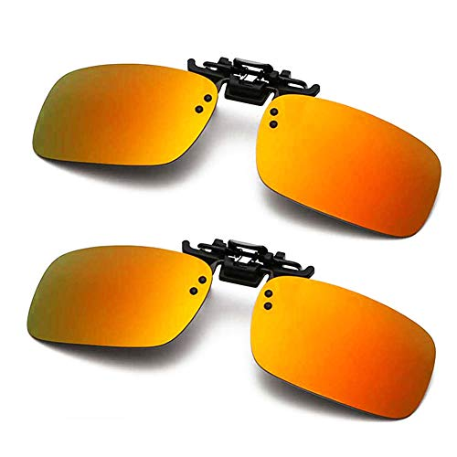 Polarized Clip-on Sunglasses Anti-Glare Driving Glasses for Prescription Glasses (Orange x 2)