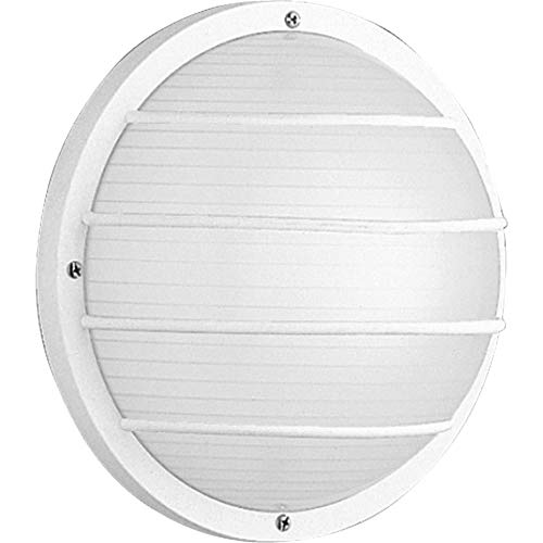 Progress P5703-30 One-light wall or ceiling mount in White finish with white ribbed polycarbonate ()