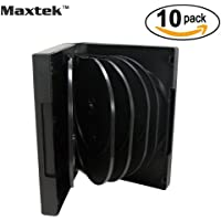 10 Pack Black 12 Disc DVD Cases with 5 Flip Trays and Outter Clear Sleeve