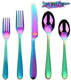 Rainbow Silverware Set, 20-Piece Flatware Cutlery Stainless Steel Utensil Set Include Knife/Fork/Spoon, Mirror Polished Set of Utensils Service for 4, Dishwasher Safe (Colorful Multicolor)