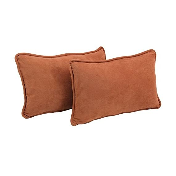 """Blazing Needles Corded Solid Microsuede Rectangular Throw Pillows with Inserts (Set of 2), 20"""" by 12"""", Spice - Features a corded style that is sure to impress your guests Includes 100-percent polyester microsuede fabric that is as stunning in color and texture as it is soft Set includes: Two (2) Rectangular Pillows - living-room-soft-furnishings, living-room, decorative-pillows - 41zGNTzfN8L. SS570  -"""
