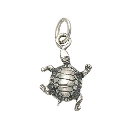 Wild Things Tiny Sterling Silver Box Turtle Pendant/Charm